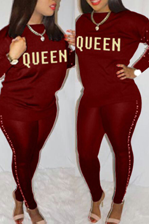 Lovely Casual Round Neck Gilt Letters Pearl Trim Wine Red Cotton Two-Piece Pants Set<br>