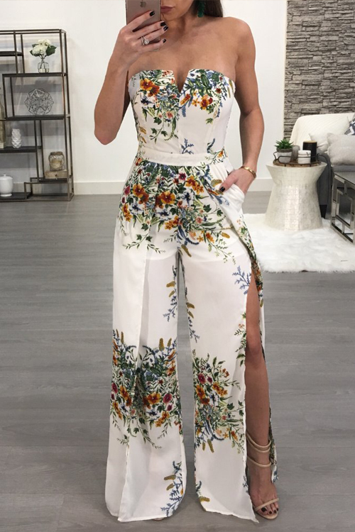 Lovely Sexy Strapless Side Slit Printed White Polyester One-piece Jumpsuits<br>