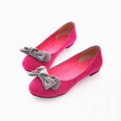 Pretty bows round flat with shallow mouth shoes pe