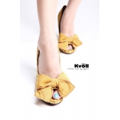 Kvoll shoes wholesale bowknot pumps peeptoe Yellow