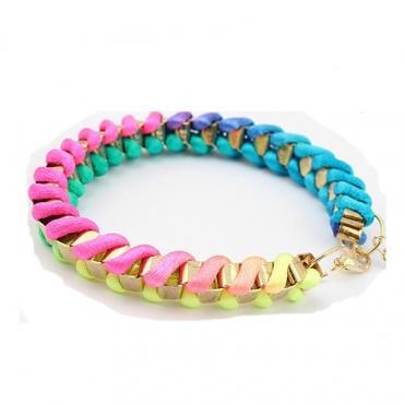 European Styles All-match Colorful  Weave Metal Bracelet