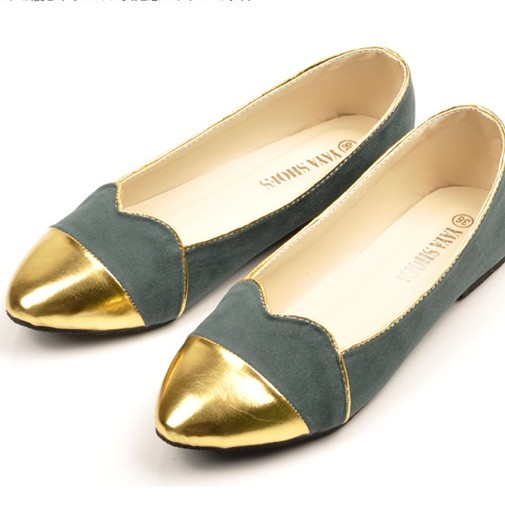 Japan Sweet PU Pointed Closed Toe Lace Embellished Green Flats