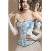 Alluring Embroidery Embellished Back Lace-up Blue
