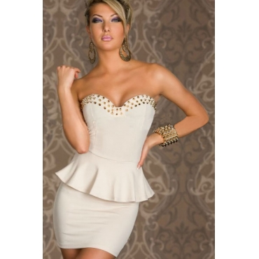 Sexy And Fashionable Off The Shoulder Sleeveless White Polyester Mini Dresses