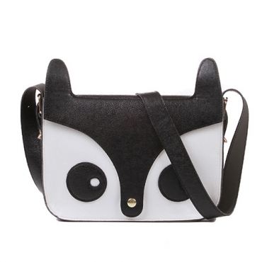Fashion Hasp Design and Fox Prints Black PU Messenger&Crossbody
