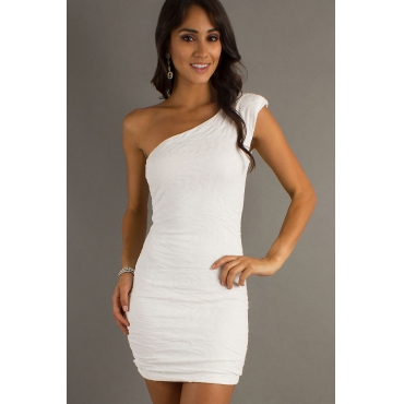 Sexy One Shoulder Sleeveless White Polyester Mini Dresses
