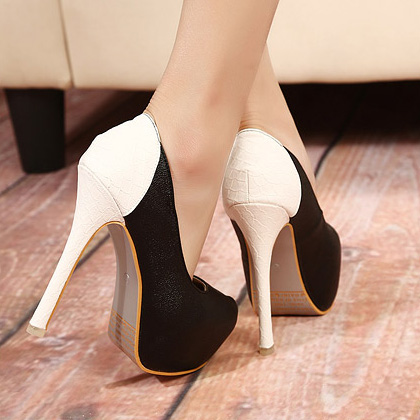 sexy round closed toe platform super high stiletto black