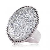 Fashionable Shining Rhinestones Decent Ring White