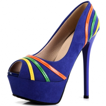 Fashion Pointed Peep Toe Colorful Stripes Embellished Stiletto High Heels Blue Suede Pumps