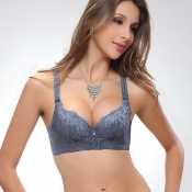 Magic Front Button Push-up Bamboo Bras Grey