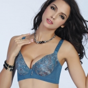 (Bra Sets) Gorgeous Sexy Plunge Push-up Blue Lace