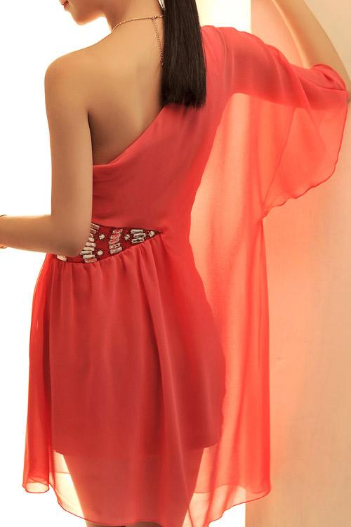 Fashion Asymmetrical Hem Oblique One Shoulder Half Sleeves Red Chiffon  Mini Dresses