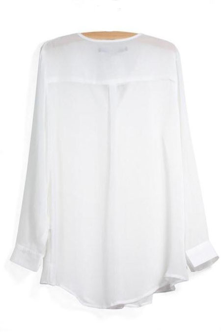 European Styles V Neck Long Sleeves Solid White Chiffon Shirt