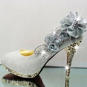 Sexy Diamond Embellished Round Closed Toe Super Hi