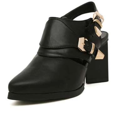 Fashion Pointed Closed Toe Buckle Strap Embellished Chunky High Heels Black PU Pumps