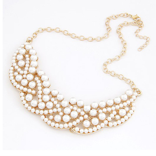 Fashion All-match Pearl Embellished Fake Collar Metal Necklace