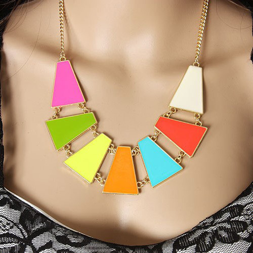 Fashion Colorful Geometry Figure Combination Metal ...