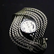Elegant Top Grade Sliver Twisted Bracelet Women Qu