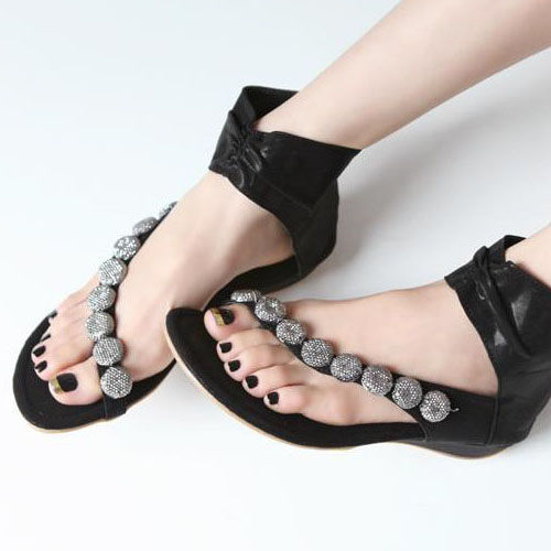 Cheap Women Sandals Flat Low Heel Black Pu Ankle Strap Sandals