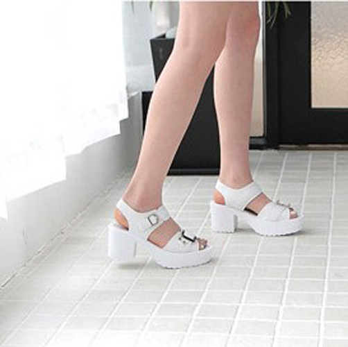 Fashion Chunky Mid Heel White PU Ankle Strap Sandals