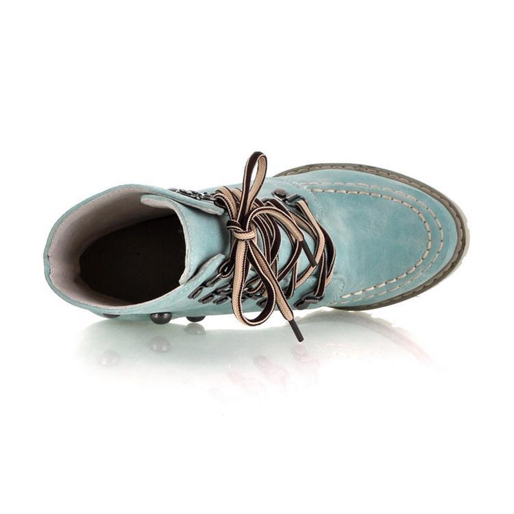 Зимние круглые носки с заклепками Кружевные туфли на высоком каблуке с голубыми замшами короткие сапоги Martens