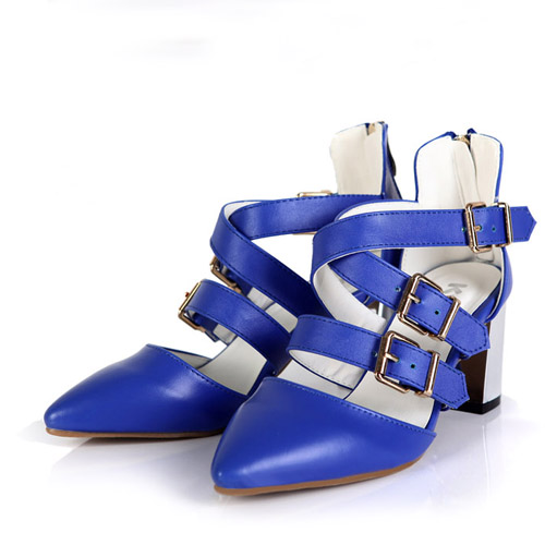 Fashion Buckle Strap Chunky High Heel Blue PU Cross Strap Sandals