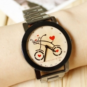 Loveable Heart Bicycle Print Small Szie Alloy Wris