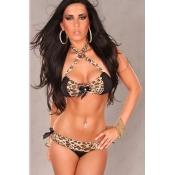 Sexy Leopard Bikini Beachwear with Rhinestone Sati