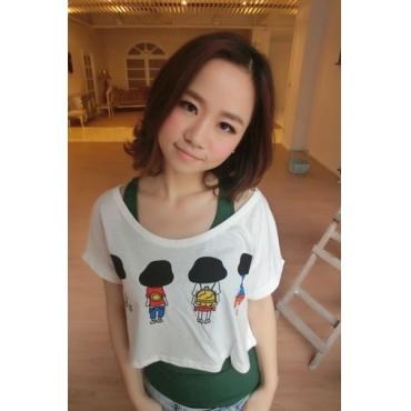 Fashion O Neck Short Sleeve Character  White Cotton T-shirt