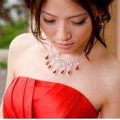 Gorgeous Red Gem Insert Diamond Embellished Bridal