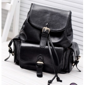 Fashion Girls Solid Black Leather Backpack String