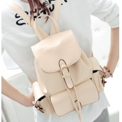 Fashion Girls Solid Beige Leather Backpack String