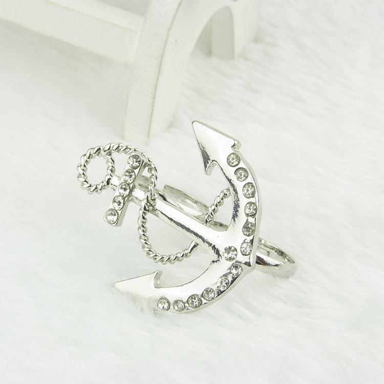 Fashion Sliver Rivet Embellished Anchor Metal Ring