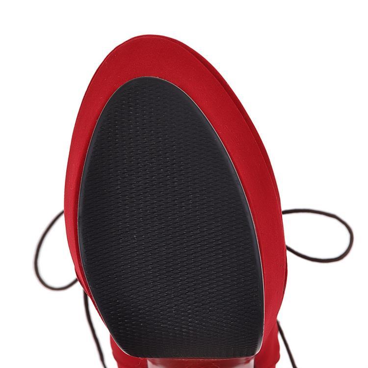 Invierno redondo dedo del pie stiletto tacón alto encaje hasta la hebilla negro botas de ante marrón