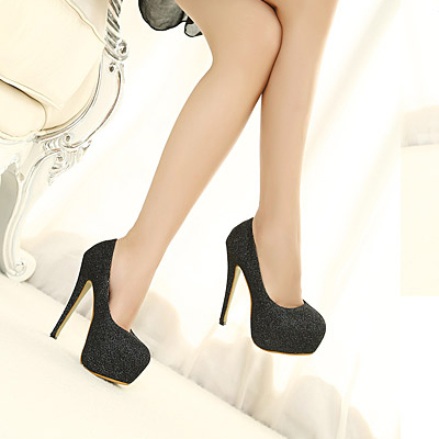 fashion round closed toe flattery stiletto high heels