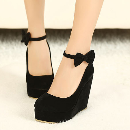 7f32ee20be5 Fashion Round Closed Toe Super High Wedges Black Suede Ankle Strap .