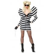 Sexy Striped Shrug Shoulders Prisoner Costumes