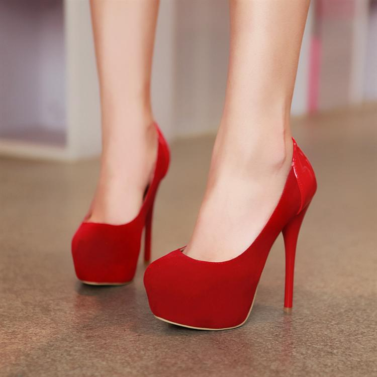 fashion round closed toe stiletto high heel red pumps