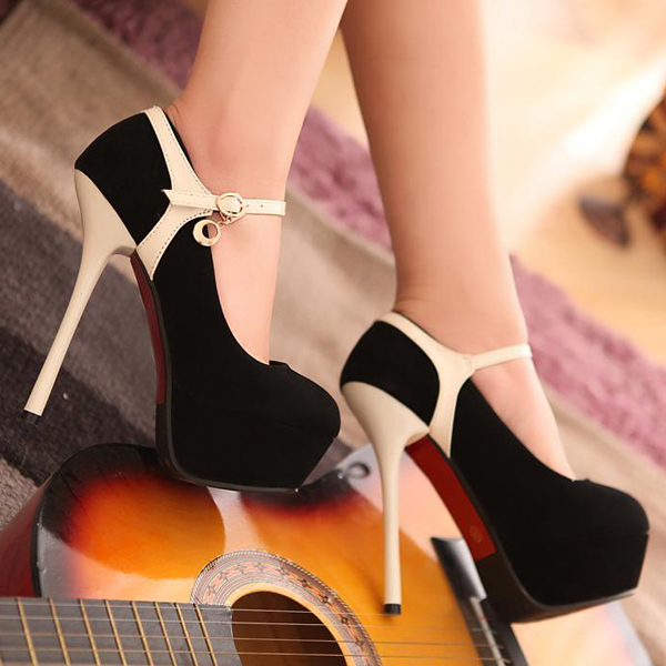 a55edebb94d3a6 Fashion Mary Jane Round Toe Closed Toe Stiletto High Heel Apricot Pumps