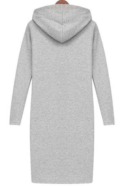 Casual O neck Long Sleeve Straight Grey Cotton Mini Dress