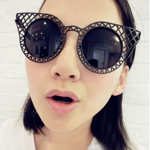 New Style Character Round Black Sunglasses