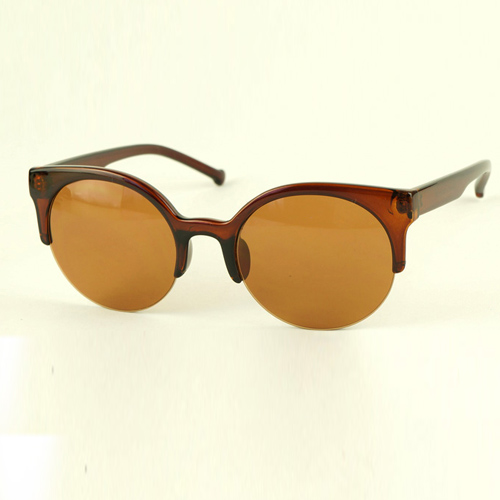 Fashion Vintage Dark Brown Half Frame Sunglasses