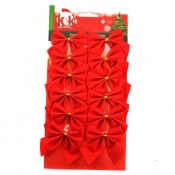 New Style Christmas Red Bows Ornament (12 a set)