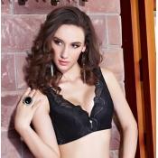 Sexy Plus-size Lace-trim Push-up Black Cotton Bras