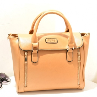 Women Fashion Solid Zipper Khaki PU Shoulder Bag