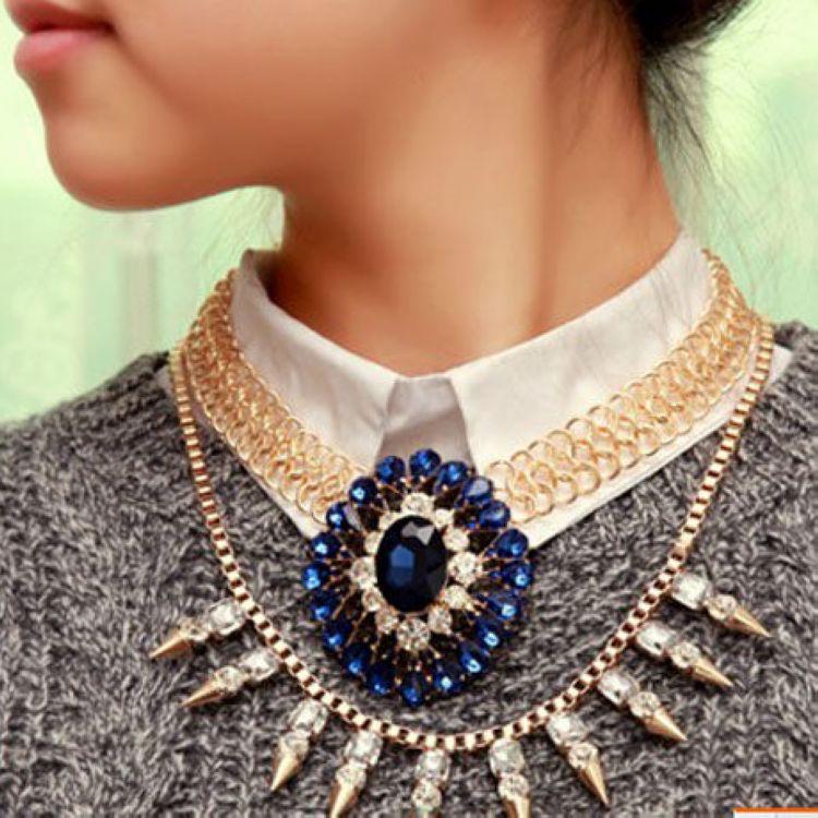 Fashion Blue Crystal Necklace