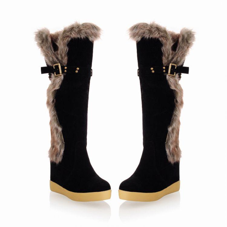 Зима Круглый Toe Плоский низком каблуке Купон на колено высокие перья черные замша ботинки снега
