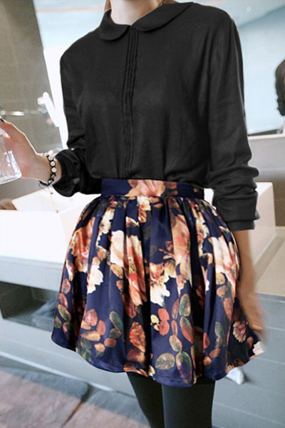 Fashion Print Ball Gown	 Polyester Mini Skirt