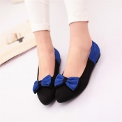Casual Round Toe Closed Basic Low Heel Blue PU Fla