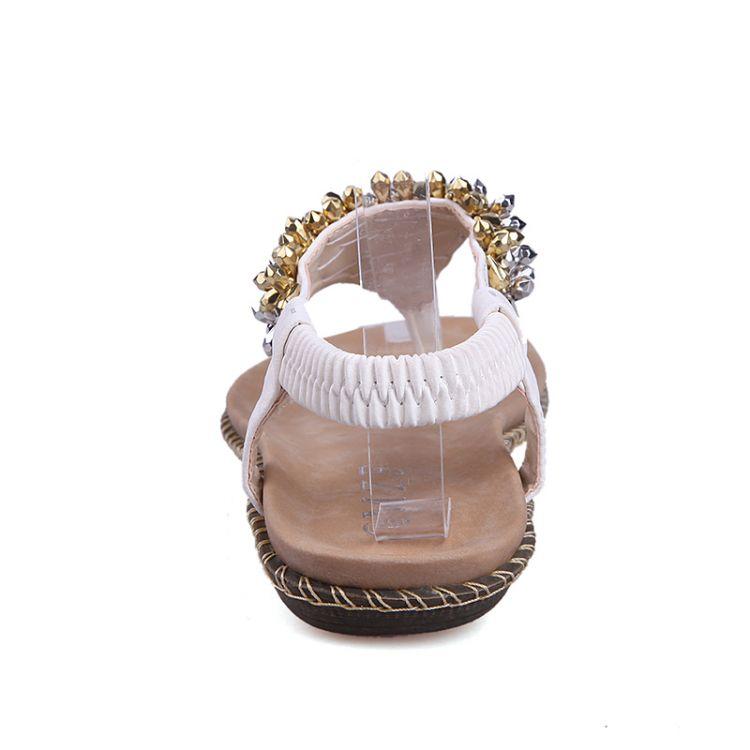 Fashion Flat Low Heel Flip Flops White PU Sandals